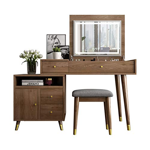 2021 Vanity Table - Dressing Table Set - Makeup Desk with Clamshell LED Light Mirror,Cushioned Stool And Storage Cabinet,Dressing Table with Time/Temperature + Bluetooth Settings for Bedroom
