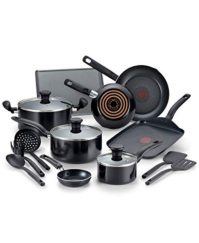T-Fal Culinaire 16-Pc. Nonstick Aluminum Cookware Set. Black