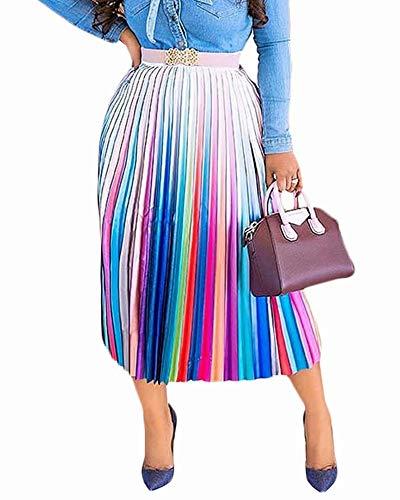 Women's Pleated Skirts Rainbow Stripes Printed Elastic Waist A-Line Swing Midi Skirt Colorful #1 2XL