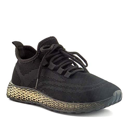 PAYMA - Zapatillas Sneakers Deportivas Mujer. Tenis Gimnasio, Deporte, Casual y Caminar. Malla traspirable. Blancas y Negras. Piso Transparente.