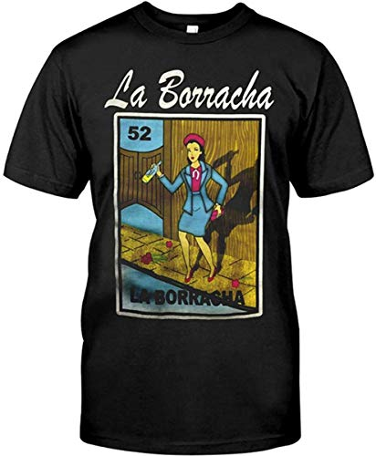 Mexican Womens Fitted Cut Loteria Theme Shirt La Borracha Cool Gíldán Short Sleeve T Shirt Gift Ideas