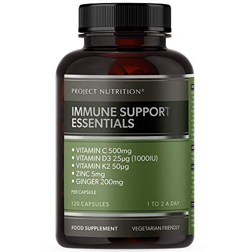 Vitamin D 1000IU Multivitamin - Zinc, Vitamin C, D3 and K2, Ginger - High Strength Immune Booster Essentials - 120 Capsules