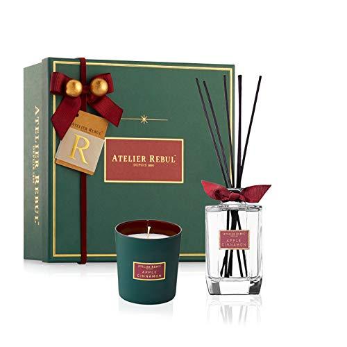 Atelier Rebul Apple Cinnamon - Set de Regalo con Varillas aromáticas y Vela aromática