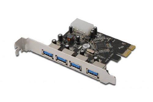 DIGITUS Interface Karte, PCIe, USB 3.0 Typ A, 4 Ports, bis zu 5 Gbit/s, Chipsatz: VL805