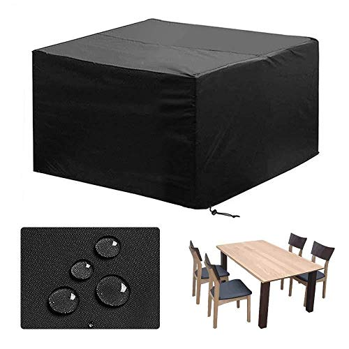 YMYP08 Heavy Duty Furniture Covers, Indoor And Outdoor Table Dust Cover Adjustable Tightness, Sunscreen Waterproof And Windproof Furniture Cover, Black (Size : 124x62.9x29.1in)
