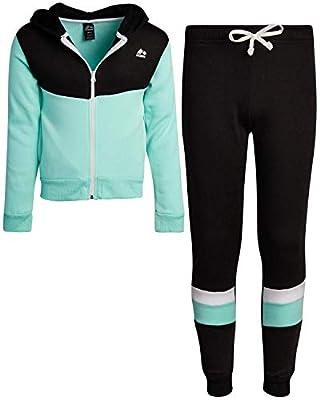 RBX Girls' Activewear Set - Zip Hoodie Sweatshirt and Jogger Sweatpants Set, Size 7/8, Black/Mint