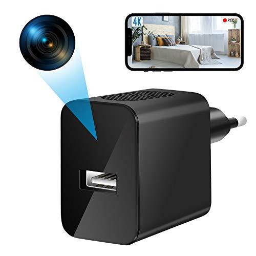 Mini Camaras Espias Ocultas Wifi, 4K HD Camaras Espias Portátil Nanny cámara con Detector de Movimiento Micro spy Camaras de Vigilancia Seguridad Pequeña Hogar/Oficina/Niño (SIN Visión Nocturna)