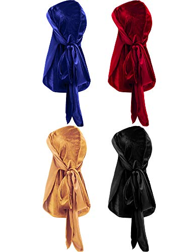 4 Pieces Men's Velvet Durag with Long Tail Soft Durag Headwraps for 360 Waves (Royal Blue, Red, Gold, Black)