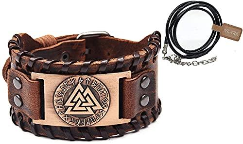 AMO Viking Vegvisir Standard Rune Wide Cuff Pulsera de Cuero Retro Nordic Rune Amulet para Hombres Y Mujeres, sin Cajas de Regalo Ni Bolsas,Marrón
