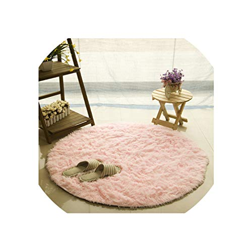 Fluffy Round Rug Carpets for Living Room Kilim Faux Fur Carpet Kids Room Long Plush Rugs for Bedroom Area Rug White,Pink,Diameter 120Cm
