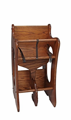 Peaceful Classics Wooden Furniture 3-in-1 Childrens High Chair, Wooden Rocking Horse, Writing Desk Solid Oak Wood (Harvest)