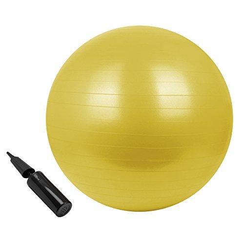 BB Sport Gymnastikball in vielen Farben und Größen Sitzball mit Ballpumpe 85 cm, Durchmesser:85 cm, Farbe:Moving Yellow