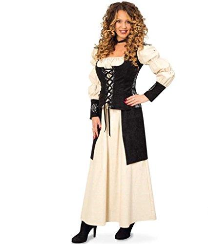KarnevalsTeufel Mittelalter Kleid 2-TLG. Gewand Kleid Kostüm für Damen Faschingskleid Bluse Rock (44)