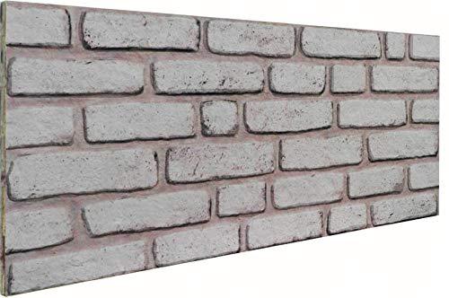 3D Wandverkleidung Wandpaneel aus Styropor in Steinoptik für Wohnzimmer, Küche, Terrasse oder Schlafzimmer - Ziegeleffekt - 100 cm x 50 cm x 2 cm, Typ 145