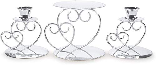 Victoria Lynn Silver Unity Candle Holder, 3-Piece Set – Includes 1 Pillar and 2 Taper Candle Holders – Add an Elegant Touch to Wedding Ceremony or Anniversary Party, Makes a Great Keepsake