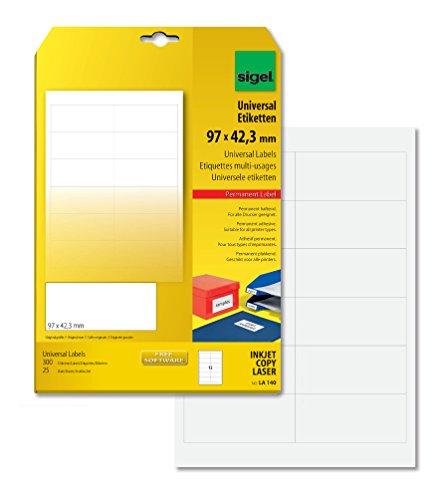 SIGEL LA140 Universal-Etiketten weiß, 97 x 42,3 mm, 300 Etiketten = 25 Blatt