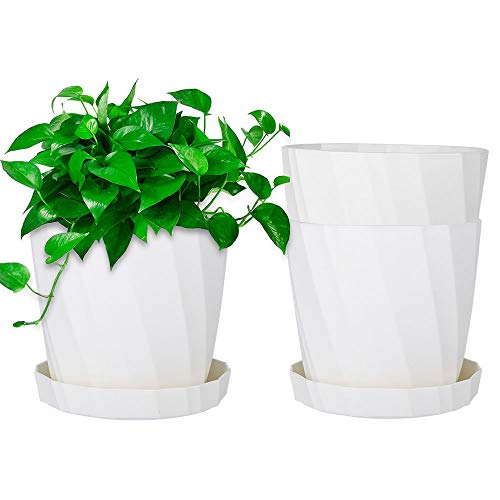 Viesap 3-er Set Pflanzkübel mit Untersetzer Weiß Blumenkübel Blumentopf Pflanztopf Rundtopf Ф 13.5cm Pflanztöpfe Kunststoff Anzuchttöpfe Nursery-Pot Klein für Sämlinge Miniaturpflanzen Außenbereiche.