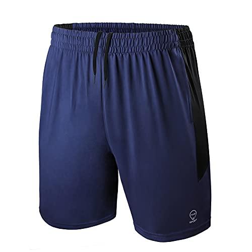 AMZSPORT Pantaloncini Sportivi Uomo Traspirante Palestra Running Shorts con Tasche con Cerniera, Blu, L