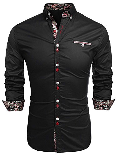 Coofandy Chemise Homme Manche Longue Coton de Marque Col Italien Boutonné Casual,Noir,S- 165-170cm/60-65kg