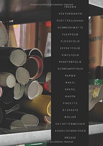Freebie Vektorgrafik Plotterzubehör Schneidematte Flexfolie Flockfolie Effektfolie Vinylfolie Fensterfolie Schrumpffolie Papier Rakel Spatel Haken ... JAHRESPLANER - KALENDER für Plotterianer