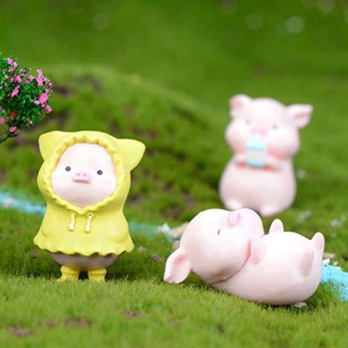 LotCow 6 Pcs/Set Mini Pigs Miniature Figurines Bonsai Decors Fairy Garden Accessories Plant Decoration Dollhouse Figurines Desk Top Ornaments Micro Landscape Ornaments Indoor Outdoor Ornaments Gifts