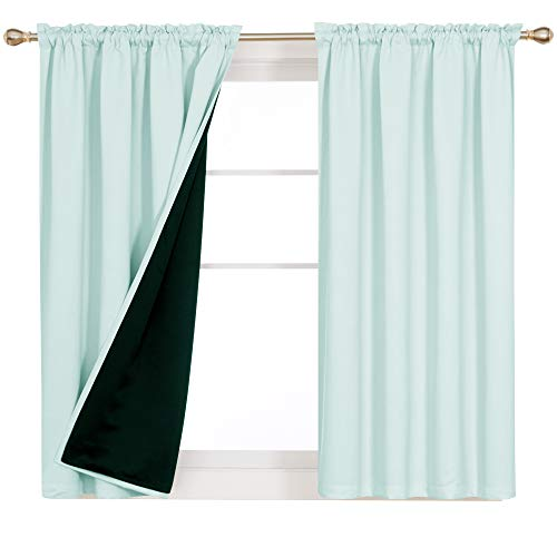 Deconovo Total Blackout Curtain Lined for Living Room Bedroom 100% Full Light Block Thermal Insulation Noise Cancellation Rod Pocket Window Drapery, Set of 2 Panels, 52x63 in Each Panel, Baby Blue
