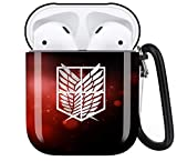 Attack On Titan Personalise Custom, AirPod Case Cover Compatiable with Apple AirPods 1st/2nd,Full Protective Durable Shockproof Drop Proof with Keychain Compatible