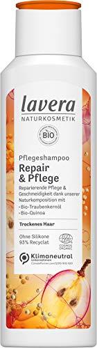 lavera, Pflegeshampoo Repair Pflege mit BioTraubenkernöl BioQuinoa reparierende Pflege Geschmeidigkeit Naturkosmetik 250ml, weiß