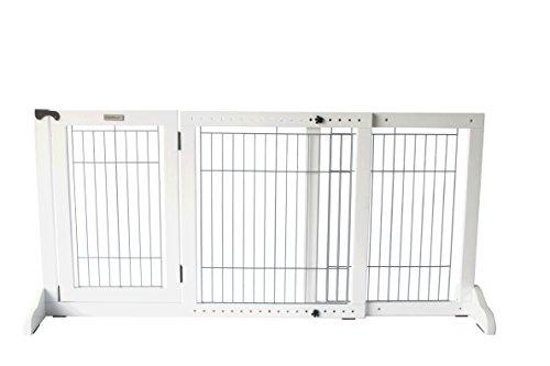 Simply Shield+ | Hunde-Barriere | Hunde-Absperrgitter | Verstellbare Breite mit Tür | Freistehend | in 3 Farben und 2 Größen erhältlich … (M, Weiß)