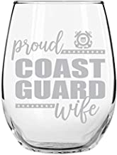 Proud Coast Guard Wife Stemless Wine Glass, 15 oz, Made in USA