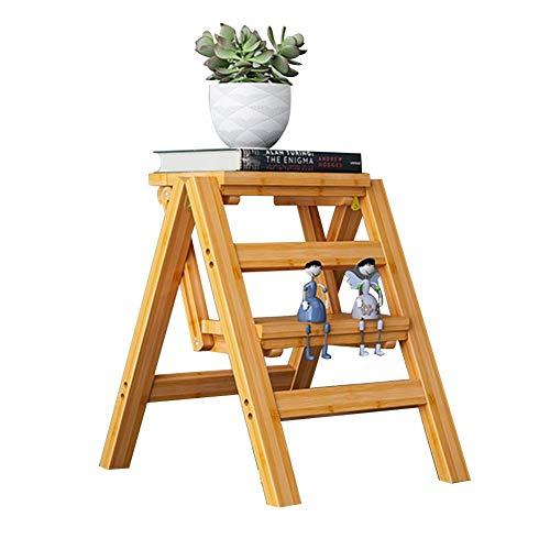 LSK-Hockerleiter Holz Klappbarer Leiterstuhl Hockerleiter 2/3/4 Stufen Kleine Leiter Regal Trittleiter (Color : 2 steps:38x46x50CM)