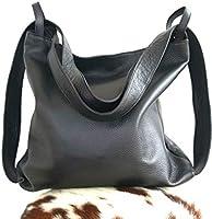 Sacs a main cuir femmes convertible sac a dos Sac porté épaule souple Amante Ganza Roma Italien (Nero)