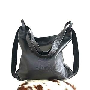 Ganza Roma Schultertasche Rucksack Damen Leder 2 in 1 Modell Amante Italienische Handgemachte