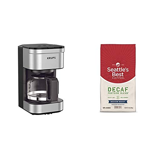 KRUPS Simply Brew Compact Filter Drip Coffee Maker, 5-Cup, Silver & Seattle's Best Coffee Decaf Portside Blend (Previously Signature Blend No. 3) Medium Roast Ground Coffee, 12 Ounce (Pack of 1)