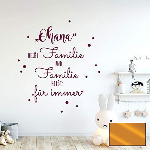 Wandtattoo Aufkleber Spruch Ohana heißt Familie Wanddeko Wandgestaltung M2234 - ausgewählte Farbe: *Kupfer* ausgewählte Größe: *XXL - 100cm hoch x 76cm breit*