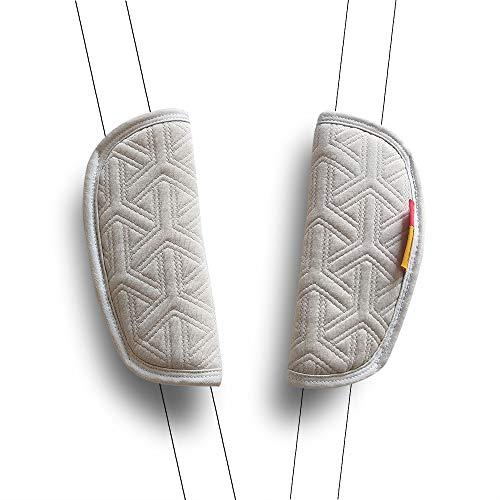2 Piezas CocHecito de Bebé, Cubierta Del Cinturón de Seguridad Del Coche Amortiguador Universal de la Correa Cubiertas de la correa (Blanco)