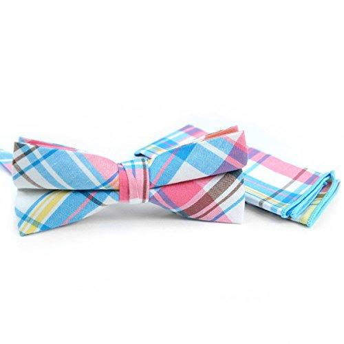 Men's Hipster Cotton Plaid Pre-Tied Bow Tie & Pocket Square Hankie Set (Miami)