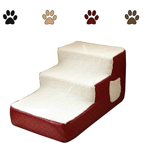 Escalera Mascota RZBAO De Tres Pisos De Escalera Perro De Mascota Pequeña Escalera Desmontable Y Lavable Limpieza Suave Conveniente Antideslizante Ligero (Color : Red, Size : 40x67x33cm)