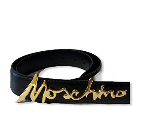 Cintura vera pelle nera Moschino con scritta logo in corsivo in oro TG46