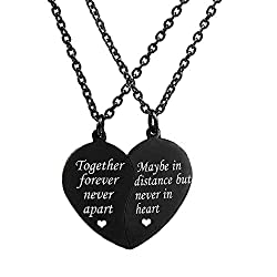 cheap Necklace MJartoria BFF 2 Piece Valentine Heart Necklace Best that will never separate together forever …