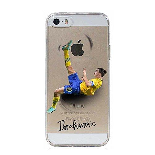 IP5 5S Cover TPU Gel Trasparente Morbida Custodia Protettiva, Soccer Collection, Zlatan Ibrahimovic, iPhone 5 5S