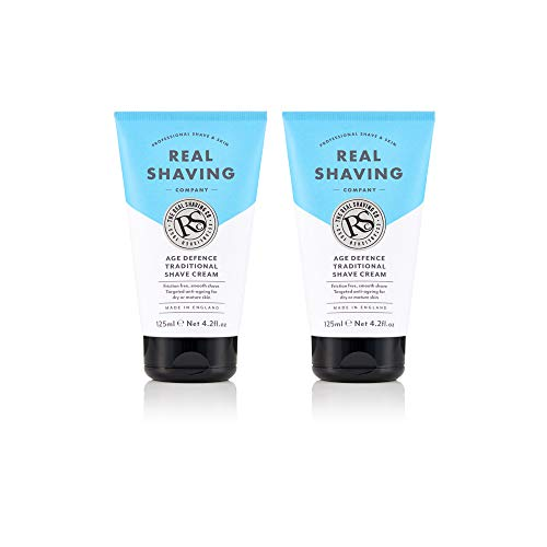 The Real Shaving Company Age Defence Traditional Shave Cream - Friction Free, Smooth Shave. Targeted Anti-Ageing for Dry or Mature Skin 2 x 125 ml