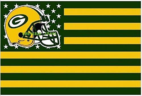 Green Bay Packers NFL-Flaggenbanner mit Sternen und Streifen, 91 x 152 cm, Helm-Flagge USA