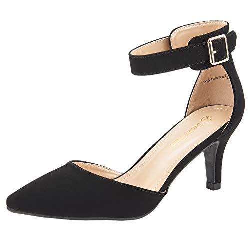 DREAM PAIRS Women's Lowpointed Black Nubuck Low Heel Dress Pump Shoes - 6 M US