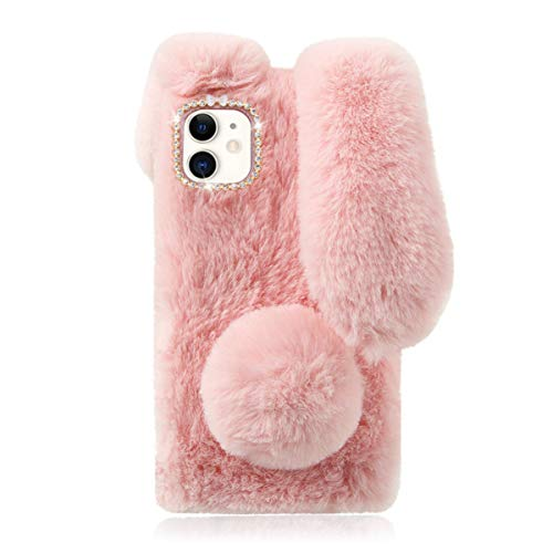 Mikikit Pink Fluffy Bunny Phone Case Compatible for iPhone 12 Mini 5.4, Plush Cover Furry Fur Animal Rabbit Ear Cartoon Doll Case Fashion Soft Cozy Case Kid Girl Cute Case for 12 Mini Cover