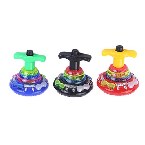 YeahiBaby Flashing Music Gyro Spinning Top LED Splendente Giocattoli Regali di Natale per Bambini 3 Pezzi (Colore Casuale)