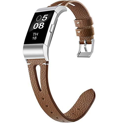 OenFoto Armband Kompatibel Fitbit Charge 2, verstellbares Ersatzband aus weichem Leder mit Edelstahlschnalle für Fitbit Charge 2 Smartwatch, Damen Herren, Groß Klein