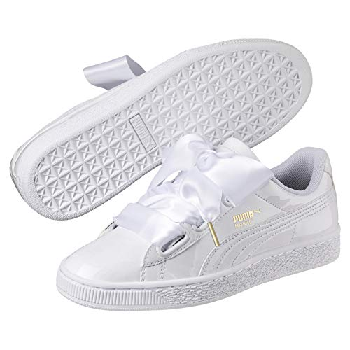 PUMA Basket Heart Patent Wn'S, Zapatillas Mujer, Blanco White White, 38 EU