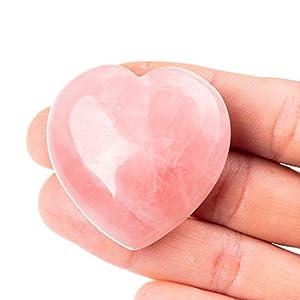 "Unihom Rose Quartz Heart Stone Puffy Worry Stone Palm Healing Crystal for Chakra Reiki Balancing, Meditation and Decoration - 1.55"""
