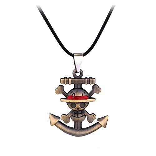 Genérico One Piece – Collar con colgante de metal – Monkey D Luffy – ancla de barco